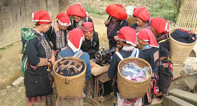 Women near Sapa learning how to sew